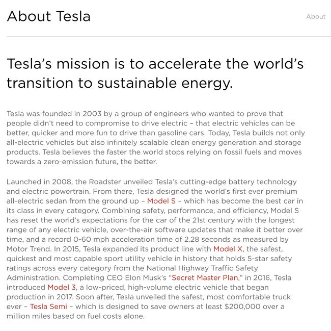 Tesla Company description