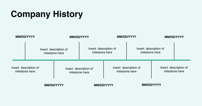 Company history on profile template