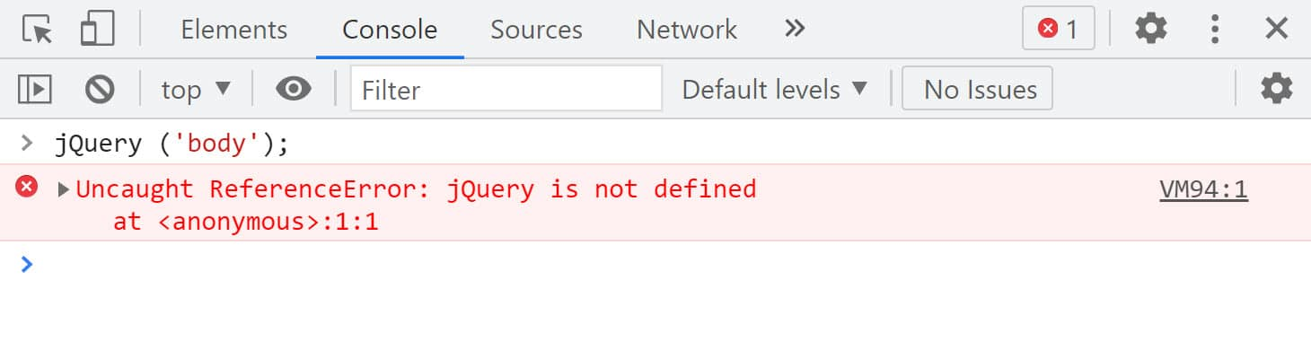 """The Chrome dev tools console tab will read """"jquery is not defined"""" in red"""