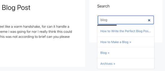 Live Ajax search widget example
