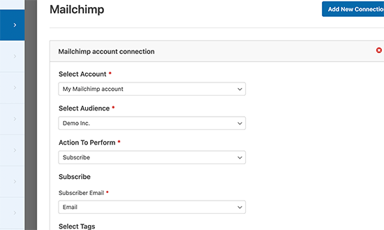 Mailchimp connection settings