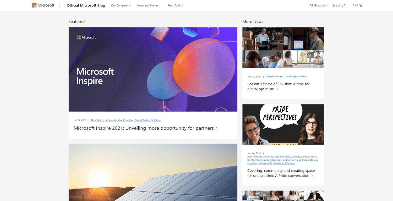 Microsoft's blog homepage screenshot.