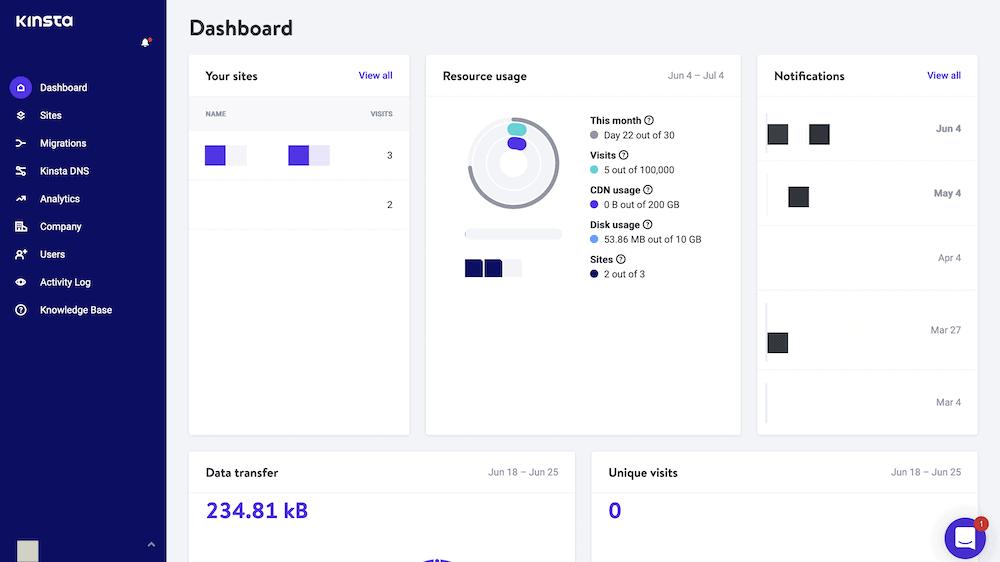 The MyKinsta dashboard.