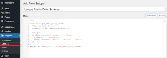 Name and add new code snippet