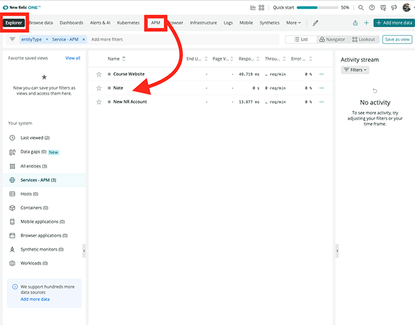 Where the new account is located in New Relic.