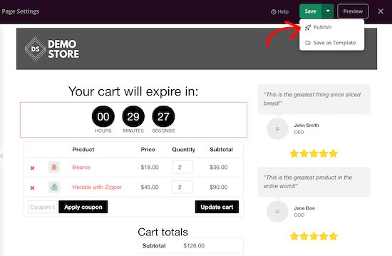 Custom WooCommerce cart page