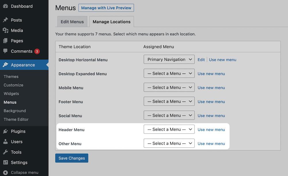 Registering menus in WordPress.