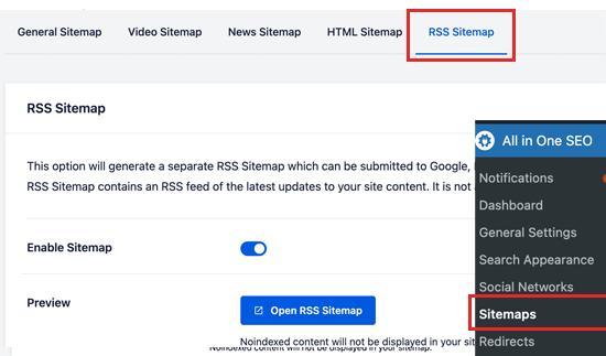 RSS sitemap