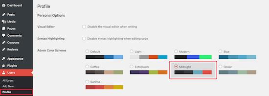 Select new admin color scheme