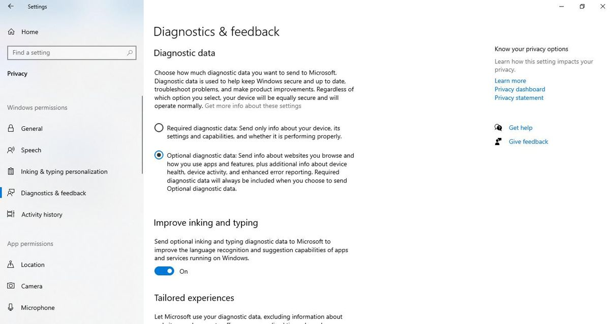 Select Optional Diagnostic Data in Settings