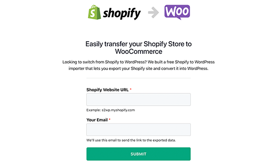 Shopify to WooCommerce migrator