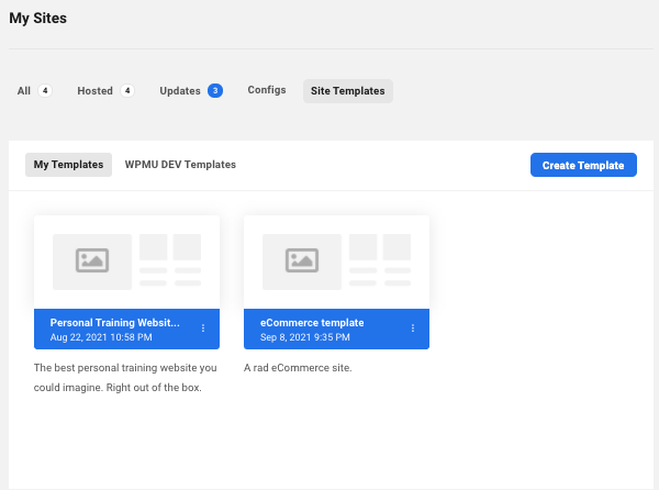 a screen showing where you can edit and manage your custom site templates