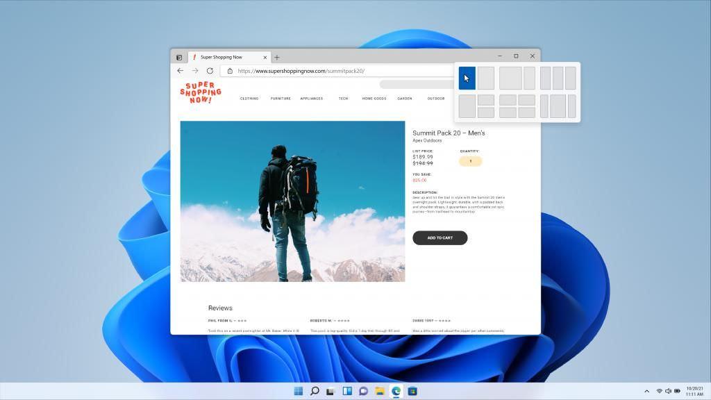 Snap Layouts on Windows 11