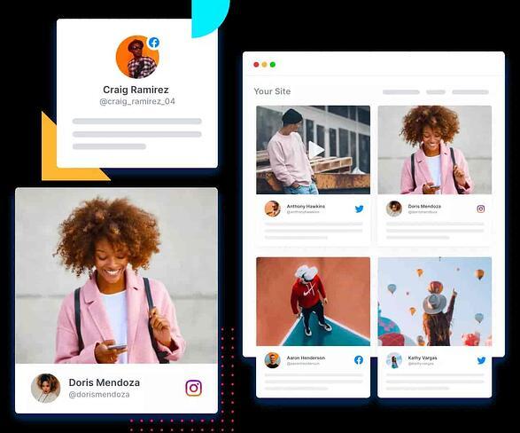 tagembed social media content aggregator sample dashboard