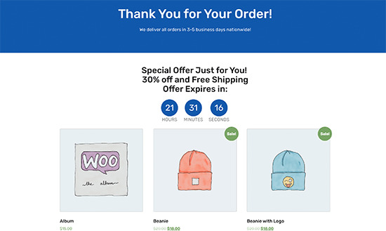 Adding upsell offers to thank you page