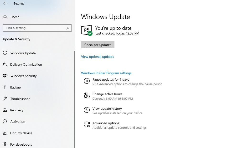 Under Windows Update, click Check for updates