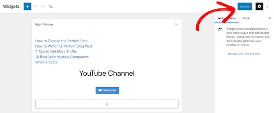 Update sidebar widget