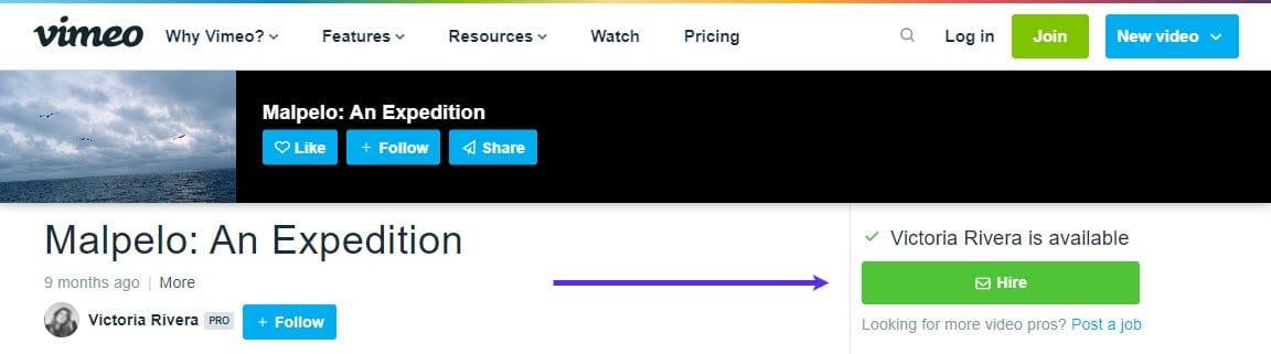 """Vimeo's """"Hire"""" button screenshot."""
