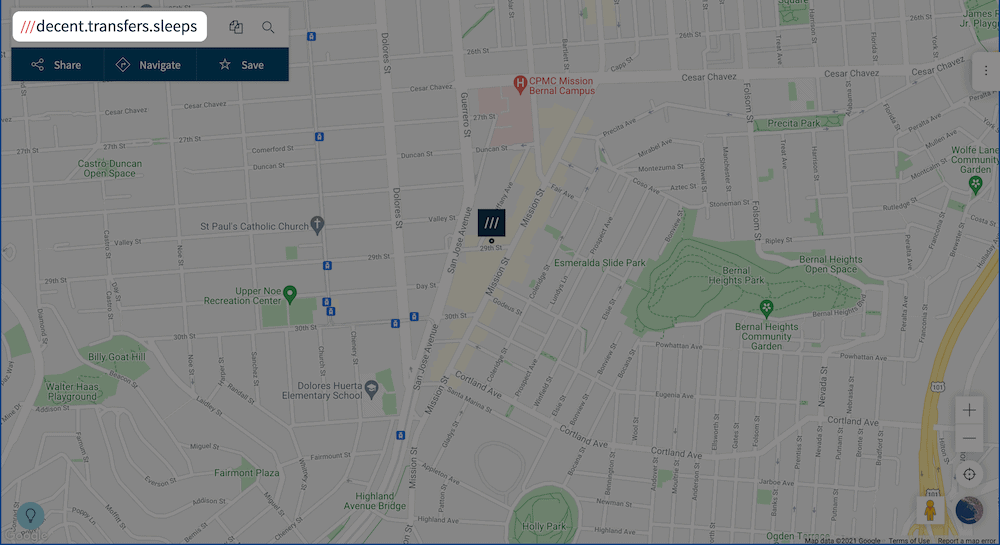 The what3words website, showing Automattic's offices.