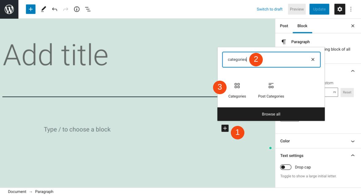 Adding the Categories block in WordPress.