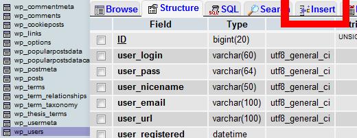 Add an Admin User via MySQL