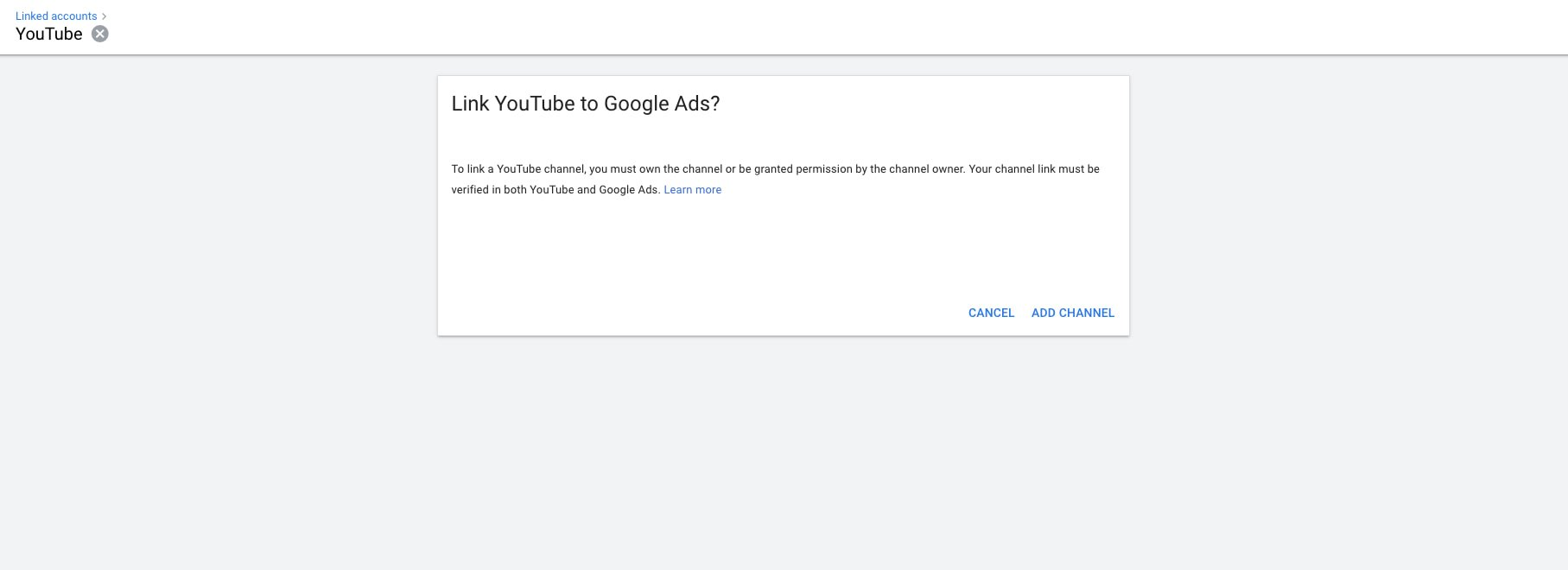 Linking YouTube channel to Google Ads