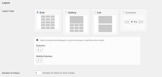 YouTube feed layout settings