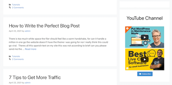 YouTube feed WordPress sidebar