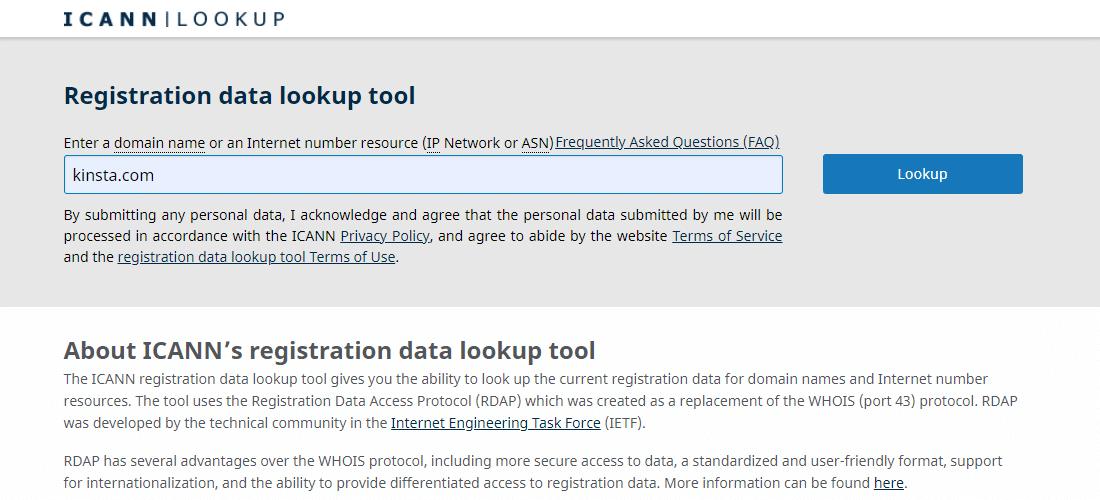 Screenshot of the ICANN Lookup WHOIS database webpage.