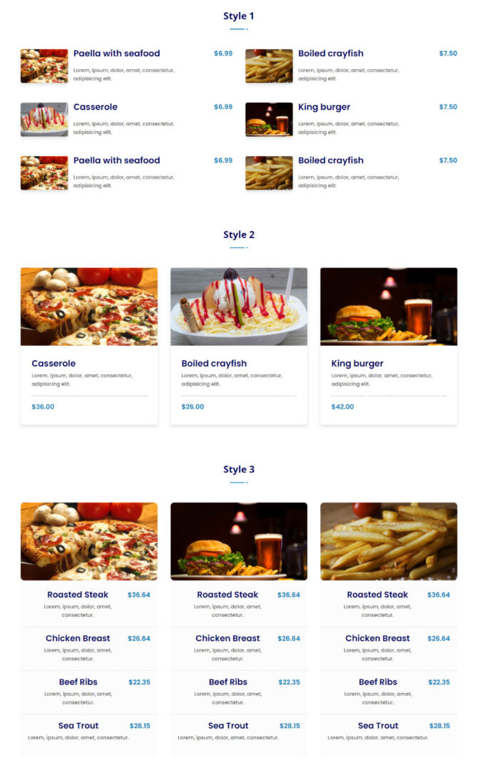 Food Menu Section Styles