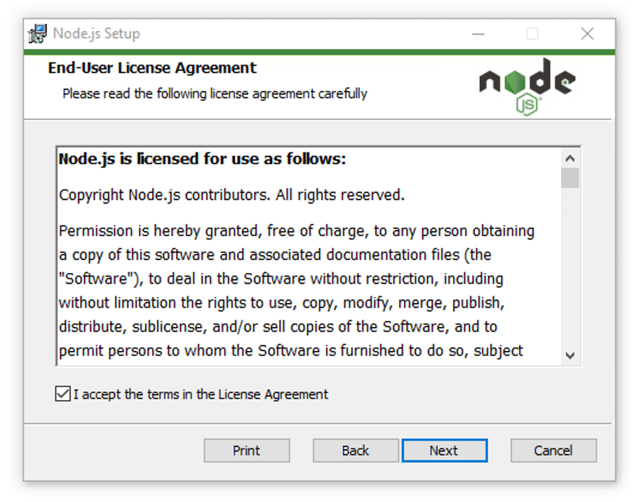 Accepting the Node.js license agreement.