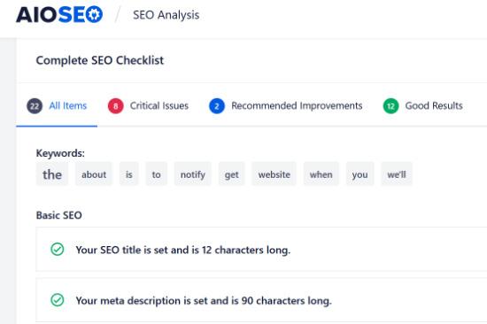 AIOSEO SEO Audit Checklist