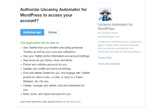 Authorize Uncanny Automator to access Twitter account