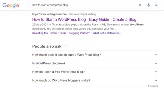 Blog post title in SERPs