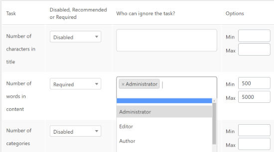 Choose user roles to exclude