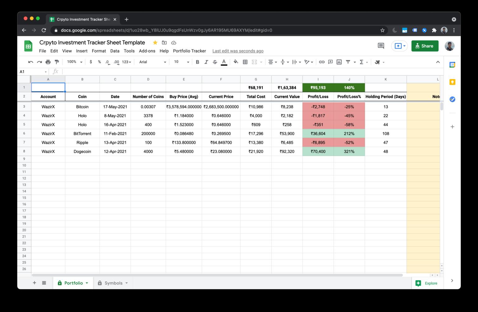 Cyptocurrency spreadsheet tracker WazirX