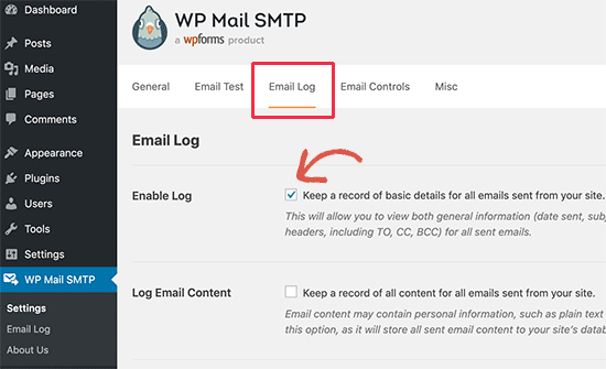 Turn on email logs