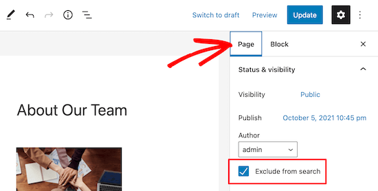 Exclude from search checkbox