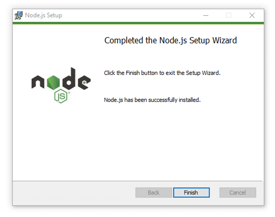 Finishing the Node.js installation on Windows.