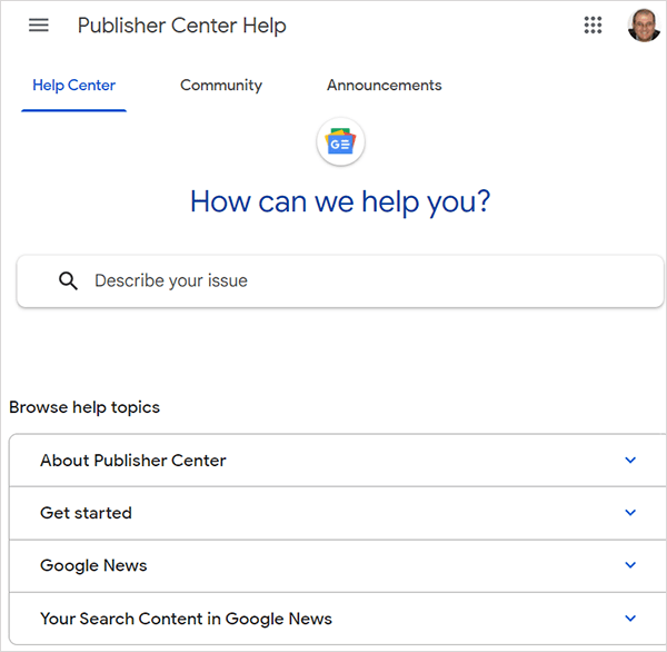 Google Publisher Center Help section
