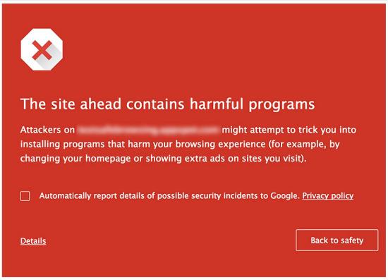 Google Safe Browsing warning