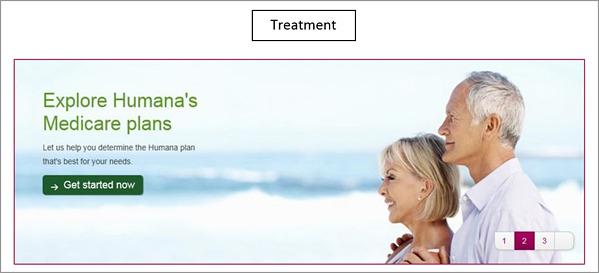 Humana A/B test variation site banner.