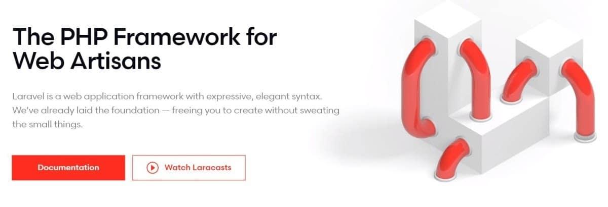 The Laravel website's homepage screenshot.