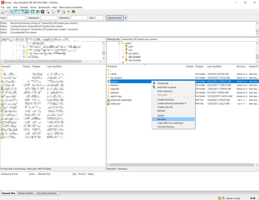Manually disabling plugins using FTP.