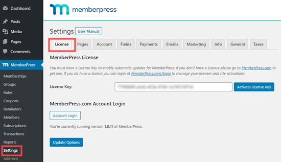 Enter MemberPress license