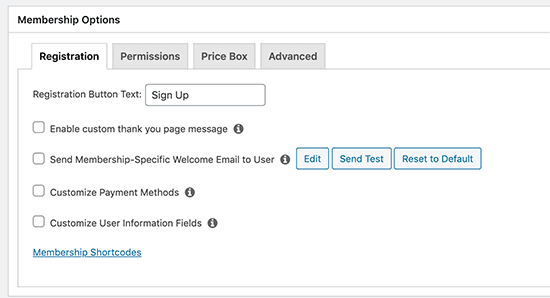 Membership options box customize