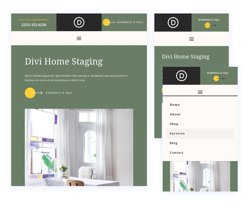 divi home staging header footer template
