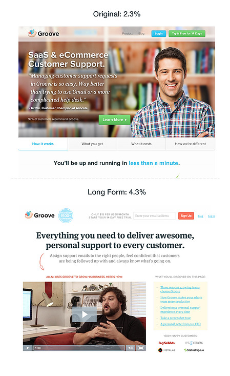 Groove's old landing page compared to its new landing page.
