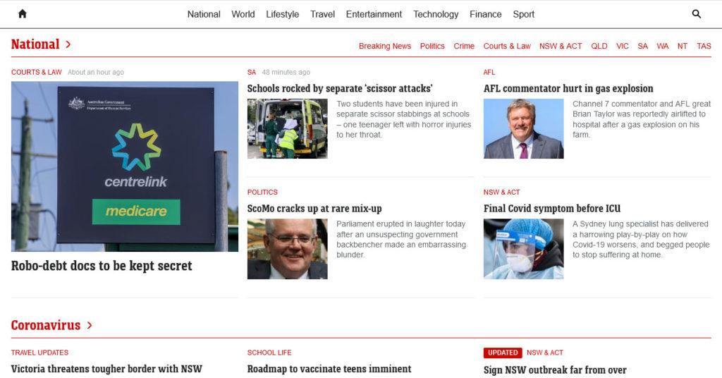 news.com.au layout