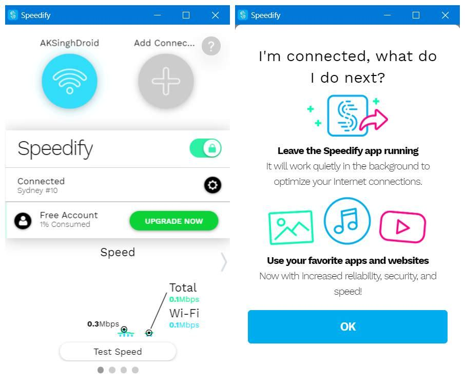 Opt for the limited free plan of Speedify